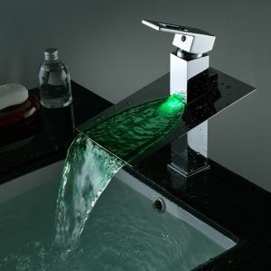Waterfall LED Faucet Mixer Bathroom Color Changing Tap