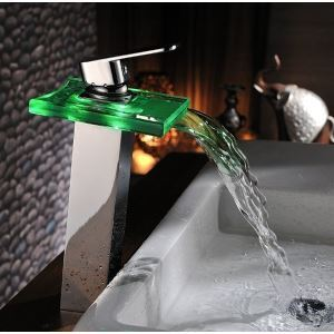 Single Handle Brass &Glass LED Basin Faucet Glass Waterfall Led Faucet Hydro Power LED Faucet Taps