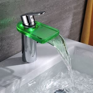 One Hole LED Single Lever Bathroom Brass Faucet With Glass