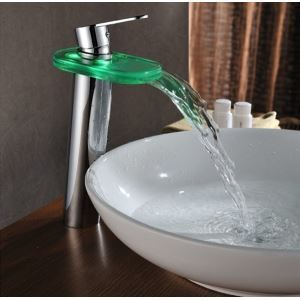 LED Faucet Vogue Hydroelectric Thermostat 3 Discolor GLASS Waterfall Basin Tap Water Saving Basin Tap