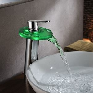 Unique Designed High LED Brass And Glass Chrome Waterfall Bathroom Faucet Basin Mixer Tap With Single Lever