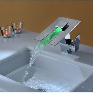 Modern Single Handle Waterfall Bathroom Vanity Vessel Chrome Sink LED Faucet