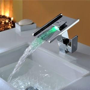 Colorful Waterfall Bathroom Brass Sink LED Faucet With Chrome Plated