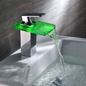 Interesting Color Changing LED Bathroom Glass And Brass Faucet With Chrome Plated