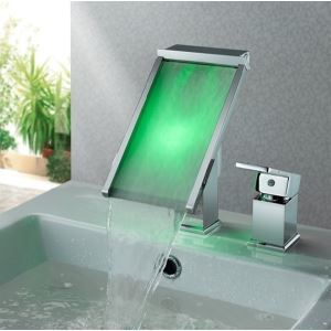 Three-Color Changing Lighted LED Glass Waterfall Faucet
