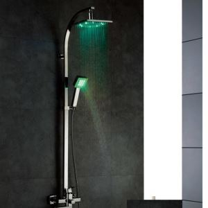 Temperature Sensor Control 3 Colors LED Light Bathroom Water Shower Faucet