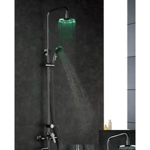 Exposed Hydroelectric Shower Faucet With Shower Head With Hand Shower