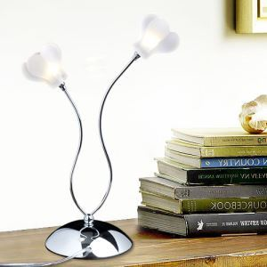 40W Crystal Table Lamp with 2 Lights in Floral Frosted Glass(G4 Bulb Base)