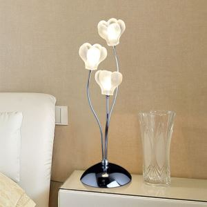 60W Crystal Table Lamp with 3-Lights in Floral Frosted Glass(G4 Bulb Base)