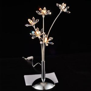 Modern Table  ASF Crystal Light with 5 Lights - Floral Design (G4 Bulb Base)