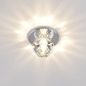 Stainless Steel Ceiling Light In Crystal Glass Shape