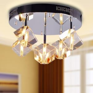 100W Crystal Flush Mount with 5 Lights in Floral Frosted Glass(G4 Bulb Base)