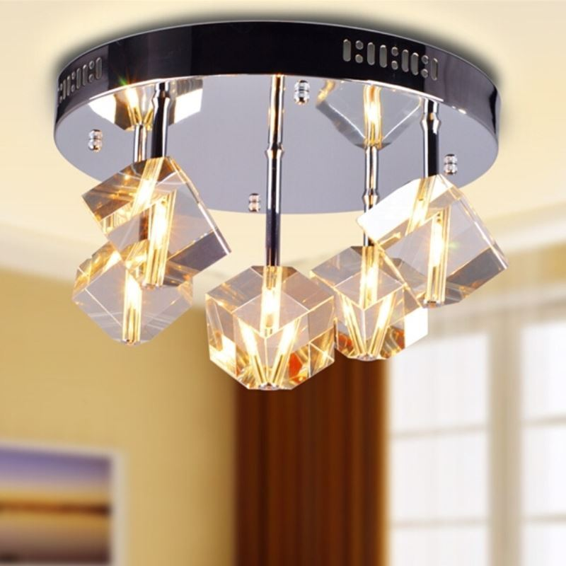 Image of 100W Crystal Flush Mount with 5 Lights in Floral Frosted Glass(G4 Bulb Base)
