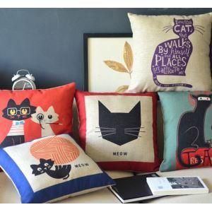 Cute Cartoon Cat Cotton Linen Pillowcase