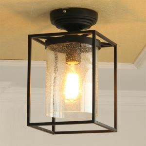 American Country Markor Wrought Iron Aisle Flush Mount Light