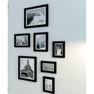 Modern Minimalist Wood Photo Wall Frame set Collection-Set of  7