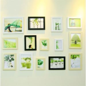 Modern Minimalist Wood Photo Wall Frame set Collection-Set of 14