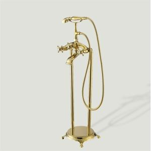 Two Handles Rain Gold Widespread Bathtub Faucet (0609 - 12305 07)