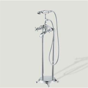 Two Handles Widespread Floor Standing Tub Faucet with Hand Shower - Chrome Finish