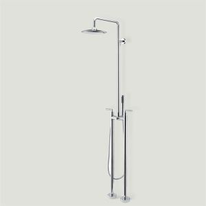 Contemporary Two Handle Floor Standing Tub Faucet With Hand Shower - Chrome Finish