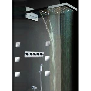 Luxury LED Shower Faucet Set ConceaLED Shower Waterfall Top Spray Shower Belt Chrome