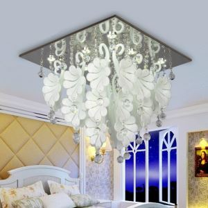 Modern/Contemporary Artistic White Flower Crystal Pendant Light-9 Lights