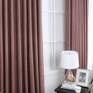 ( One Panel ) Contemporary Faux Linen Solid Brown Room Darkening Curtains(ML9122-3)