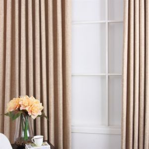 ( One Panel ) Contemporary Faux Linen khaki Room Darkening Curtains(ML9122-4)