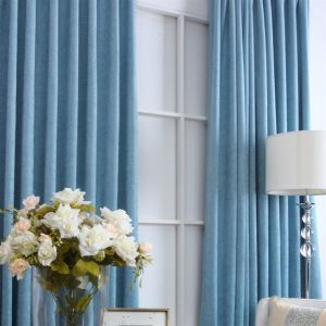 ( One Panel ) Mediterranean Sky Blue Chenille Room Darkening Curtains(ML9123)