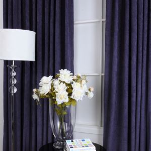 ( One Panel ) Contemporary Navy Flocking Room Darkening Curtains (ML9125)