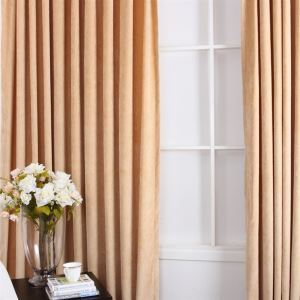 ( One Panel ) Conteporary Yellow Flocking Room Darkening Curtains (ML9125-4)