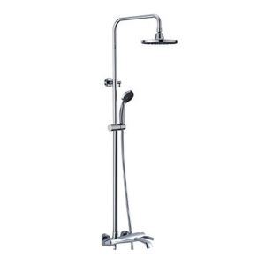Contemporary Tub Shower Faucet with 8 inch Rain Shower Head + Hand Shower