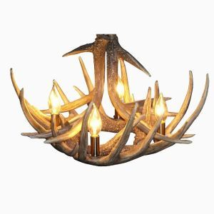 (In Stock) Rustic Cascade Featured Antler Chandelier Antler Lighting with 4 Lights Antler Color Dining Room Lighting Ideas Lighting Living Room Bedroom Ceiling Lights