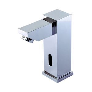 Contemporary Style Deck Mounted Chrome Finish Brass Sensor Bathroom Sink Faucets
