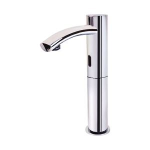 Chrome Finish Contemporary Style Deck Mounted Brass Sensor Bathroom Sink Faucets (High)