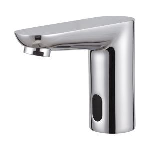 Contemporary Style Chrome Finish Deck Mounted Brass Sensor Right-angle Style Bathroom Sink Faucets