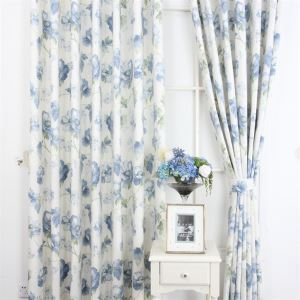 ( One Panel ) Country Style Print Blue Polyester Room Darkening Curtains  ML9148