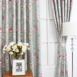 ( One Panel ) Country Style Print Green Ployester Room Darkening Curtains  ML9151
