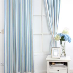 ( One Panel ) Contemporary Print Stripe Pattern Blue Polyester Room Darkening Curtains  ML9152