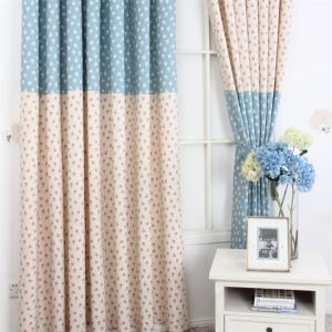 ( One Panel ) Contemporary Print Floral Pattern Blue and Creamy White Polyester Room Darkening Curtains  ML9154