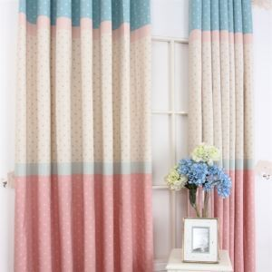 ( One Panel ) Contemporary Print Floral Pattern Blue Creamy White and Pink Polyester Room Darkening Curtains  ML9159