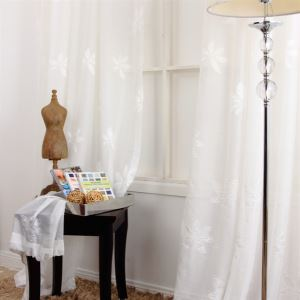 ( One Panel ) Country Style Leave Pattern White Jacquard Polyester Sheer Curtains-MLS9110