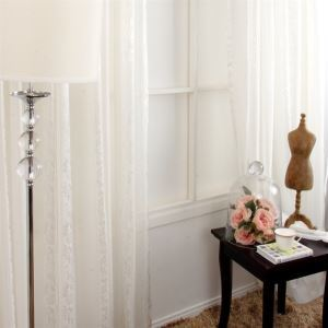 ( One Panel ) Chinese Stripe Pattern White Jacquard Polyester Sheer Curtains-MLS9112