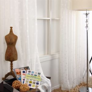 ( One Panel ) Chinese Leave Pattern White Jacquard Polyester Sheer Curtains