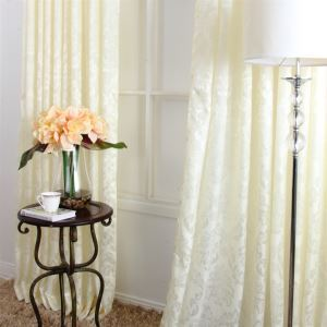 ( One Panel ) European Abstract Yellow Jacquard Polyester Sheer Curtains