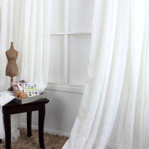 ( One Panel ) Contemporay Stripe Pattern White Jacquard Polyester Sheer Curtains-MLS9132-2