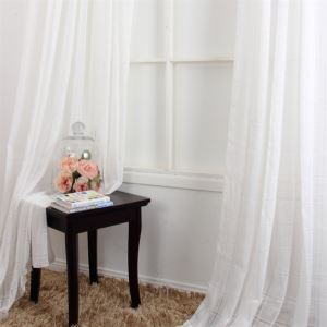 ( One Panel ) Contemporay Plaid Pattern White Polyester Sheer Curtains-MLS9132-3