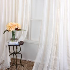 ( One Panel ) Contemporary Stripe Pattern White Polyester Sheer Curtains-MLS9132-5