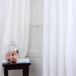 ( One Panel ) Contemporary Stripe Pattern White Polyester Sheer Curtains-MLS9132-6
