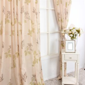 ( One Panel ) Country Style Print Leave Pattern Light Brown Polyester Sheer Curtains-MLS9144